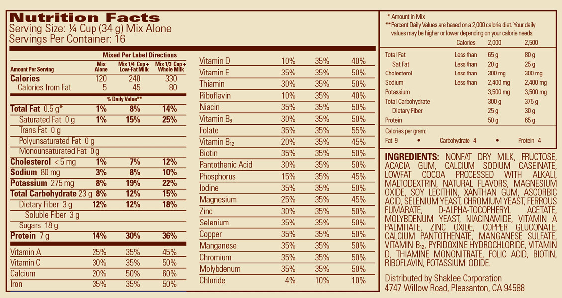 Shaklee Meal Shakes, Bavarian Cocoa