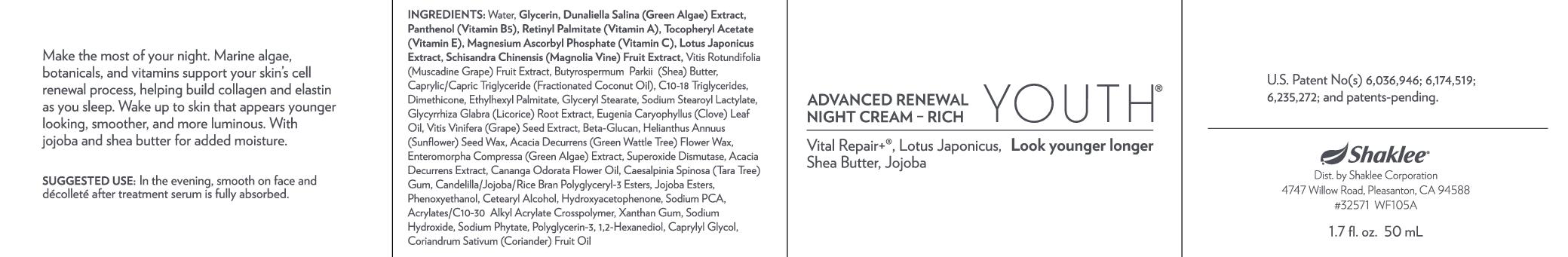 YOUTH Advance Renewal Night Cream-Rich (32571)