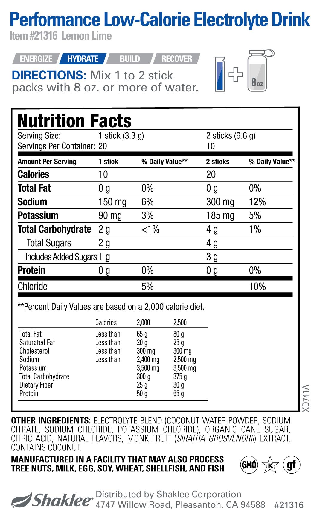 Performance Low-Calorie Electrolyte Drink LEMON-LIME