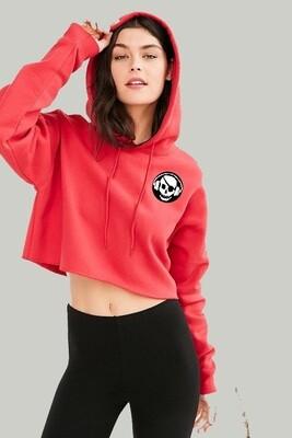 Skull & Headphones Red Crop Top Hoodie