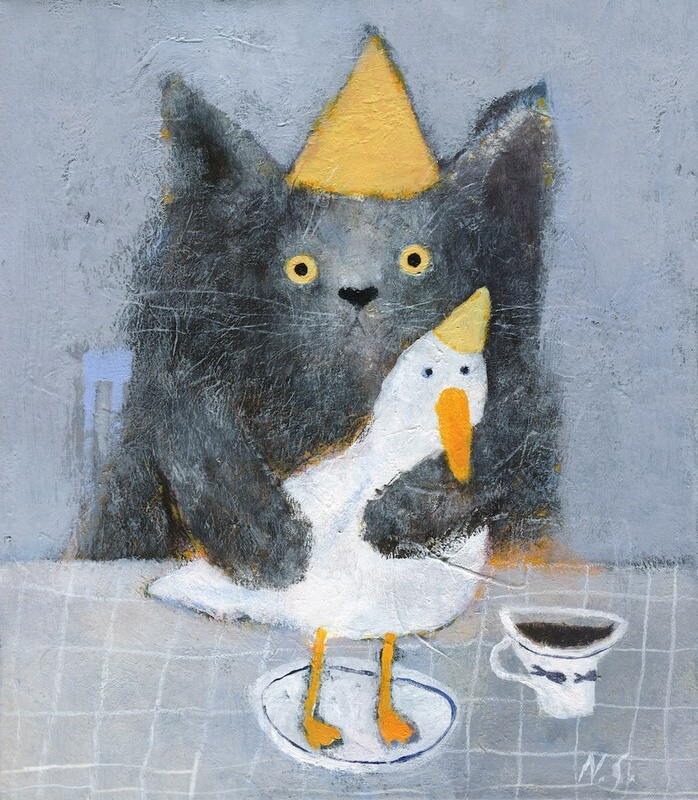 Cat with a Duck on a Plate