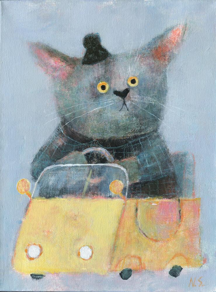 Cat in a Yellow Car – Original