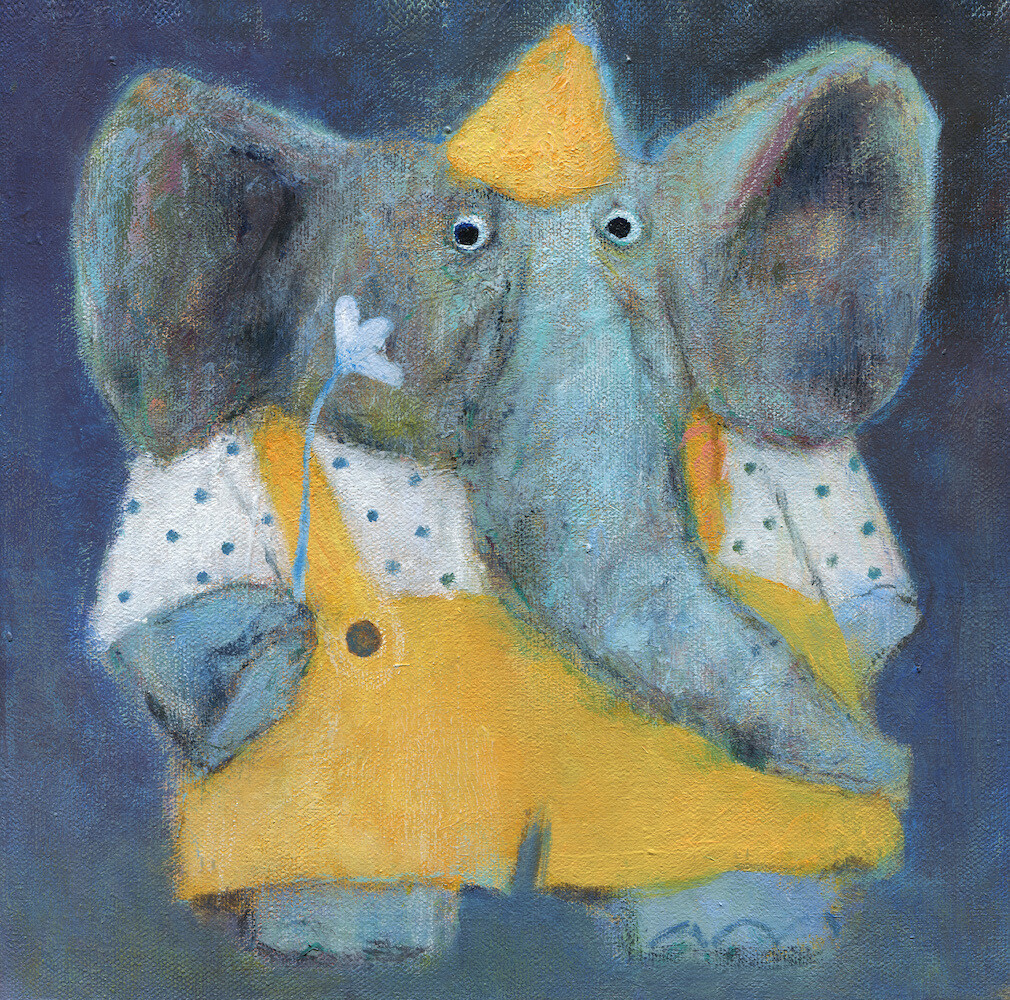 Elephant in a Party Hat – Original