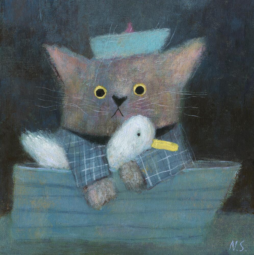 Cat and Duck in a Boat – Original