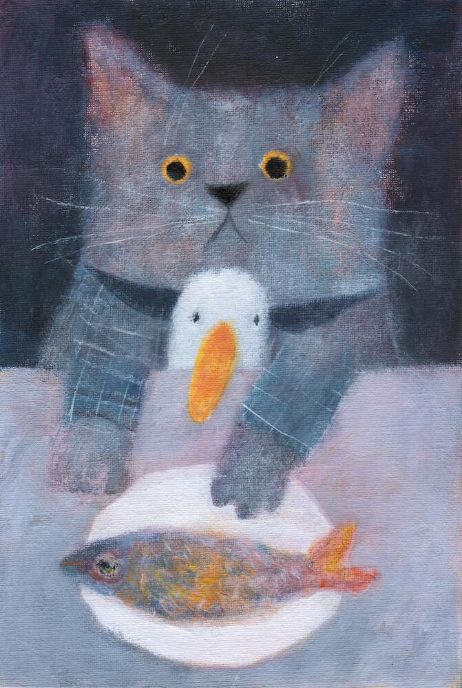 Cat, Duck and a Fish – Original