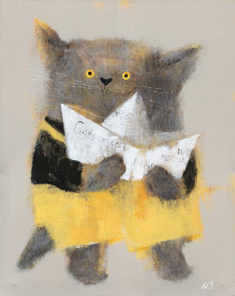 Cat with a Paper Boat – Original