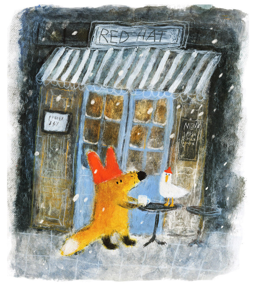 Fox and Duck at the Cafe