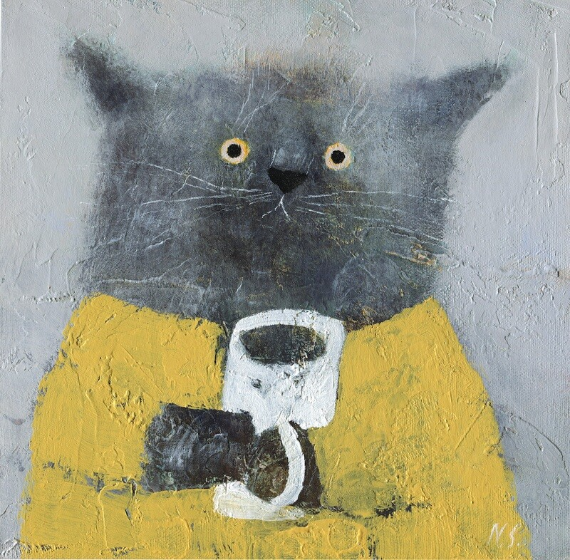 Grey Cat in a Yellow Dress