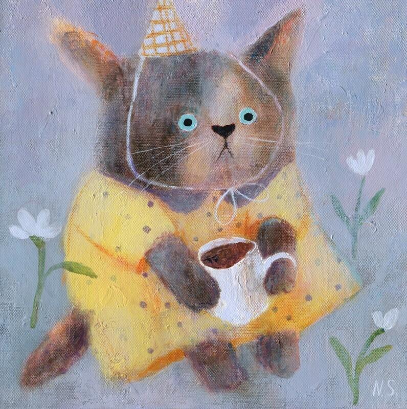 Morning Cat in a Yellow Dress – Original