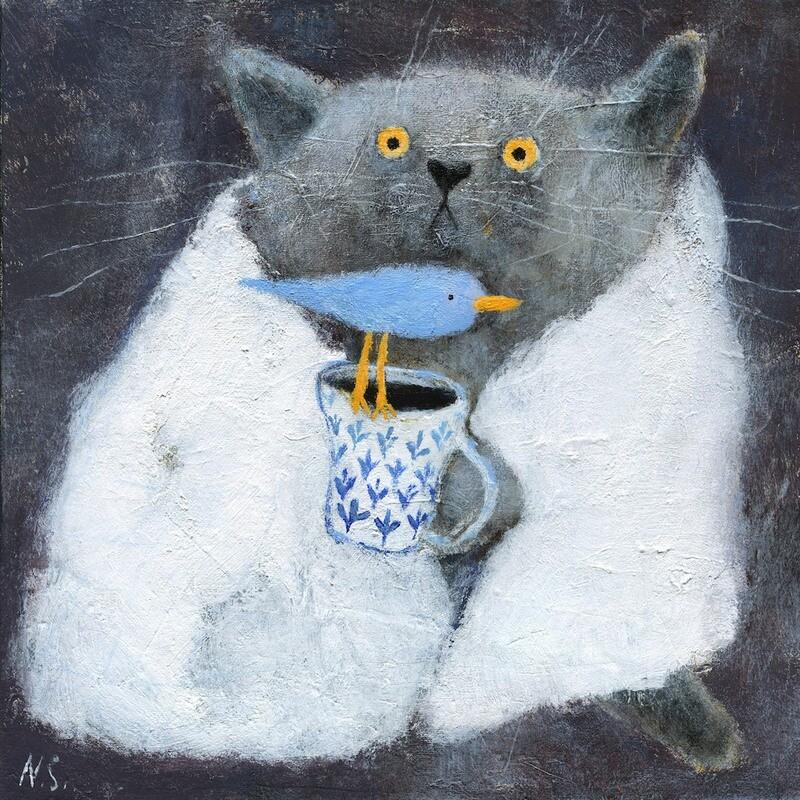 The Grey Cat in White Blanket