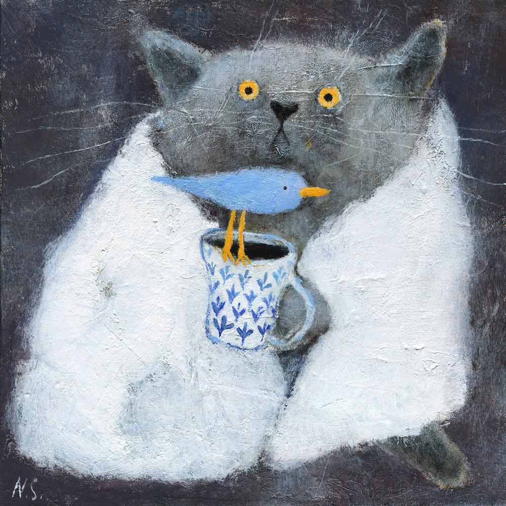 The Grey Cat in White Blanket – Original