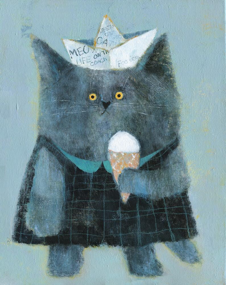 Cat with an Ice Cream – Original
