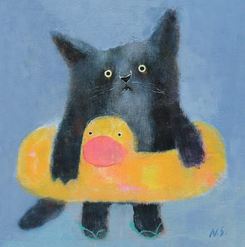 Kitty with a Swim Ring – Original
