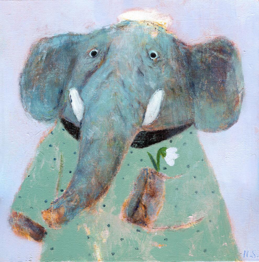 Elephant with a Flower – Original