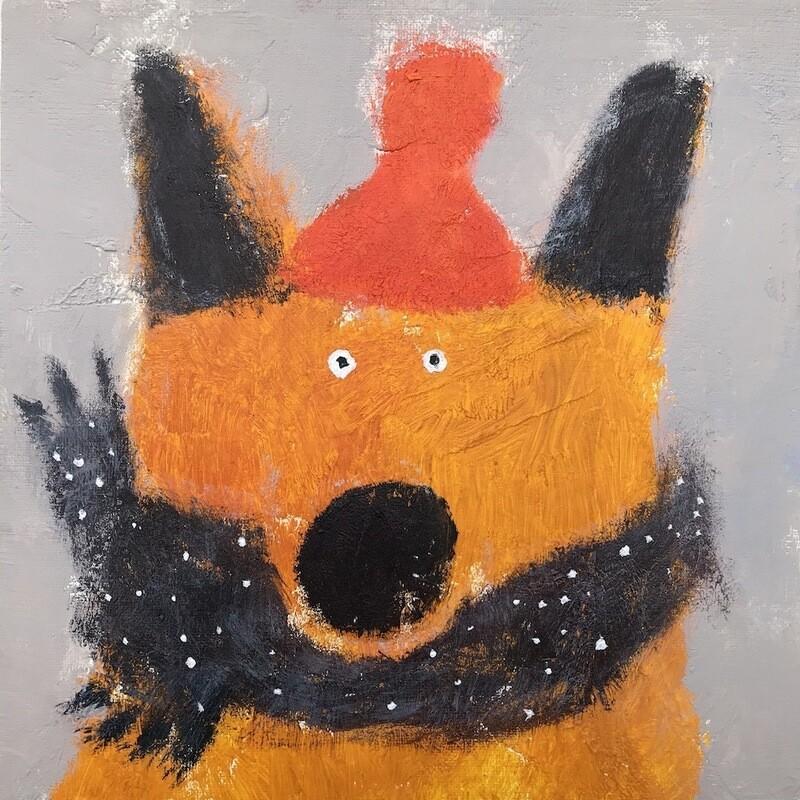 Fox with Warm Scarf – Original