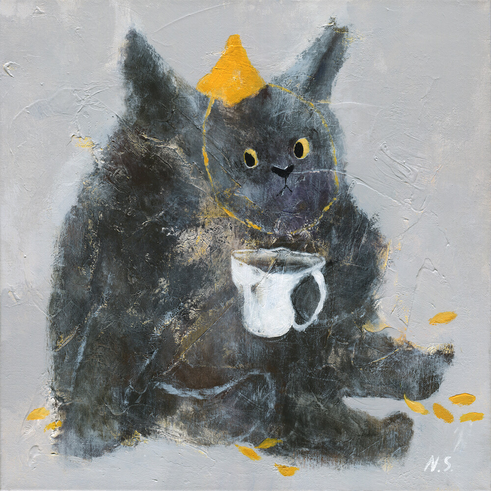 Grumpy Cat with a Cup of Tea – Original