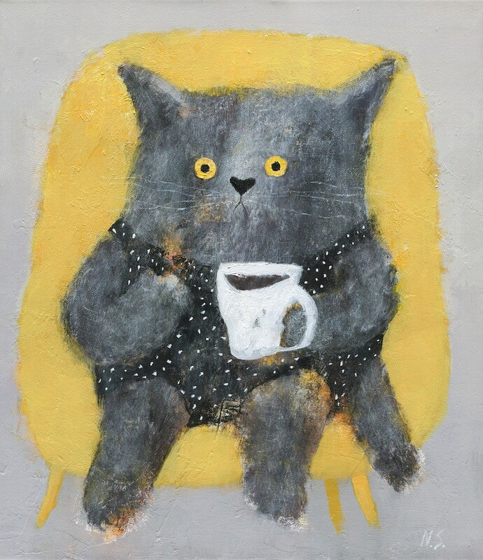 Ms. Cat in a Yellow Chair – Original