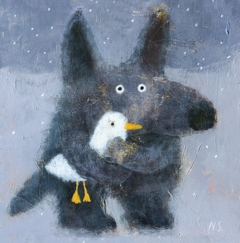Wolf with a Duck