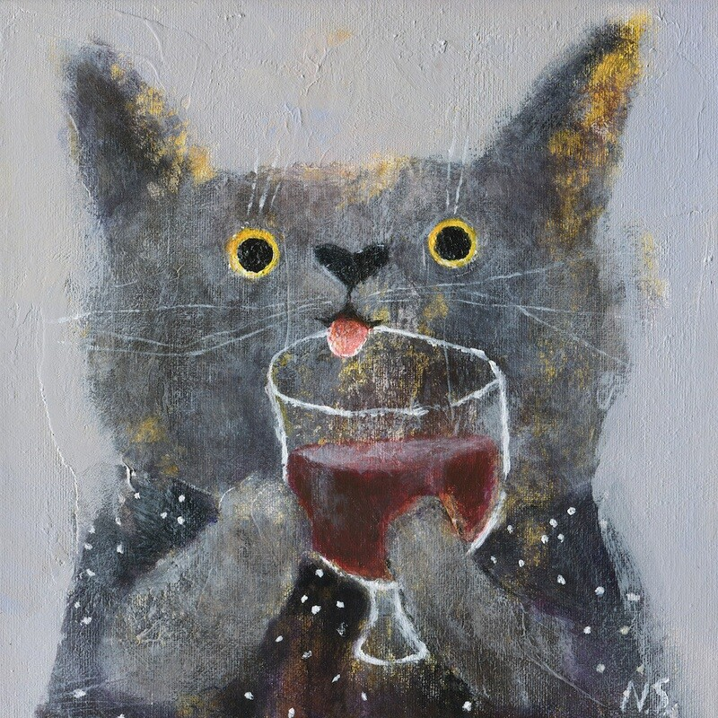 The Cat with a Glass of Wine – Original