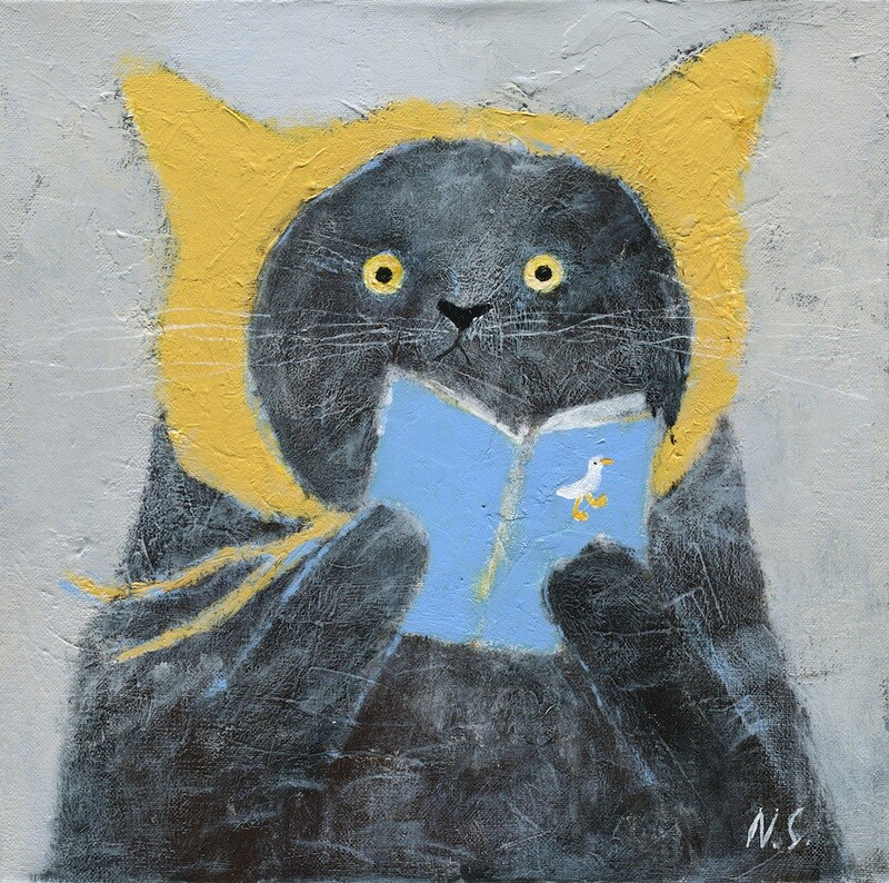 Cat with a Book in a Yellow Hat