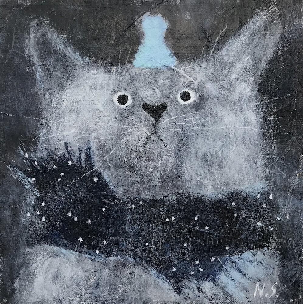 Cat with Little Blue Hat – Original