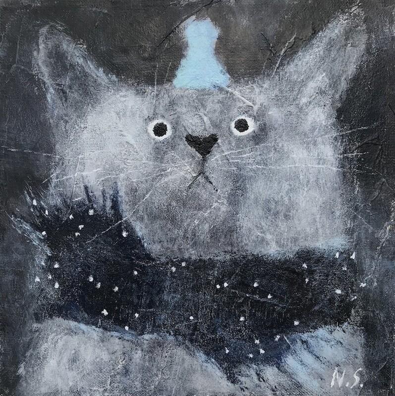 Cat with Little Blue Hat