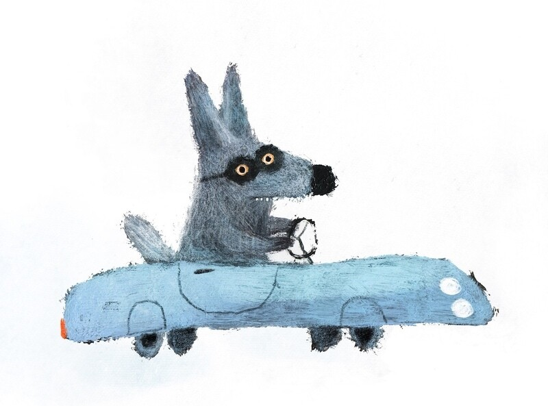 Wolf in the Blue Car