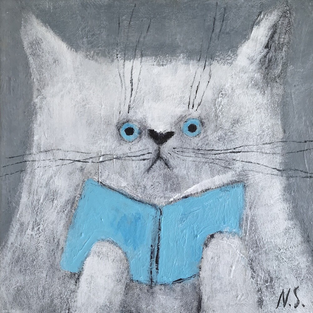 White Cat with a Book – Original