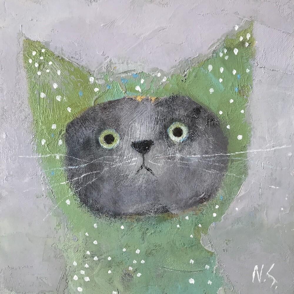 Cat in the Green Hood – Original