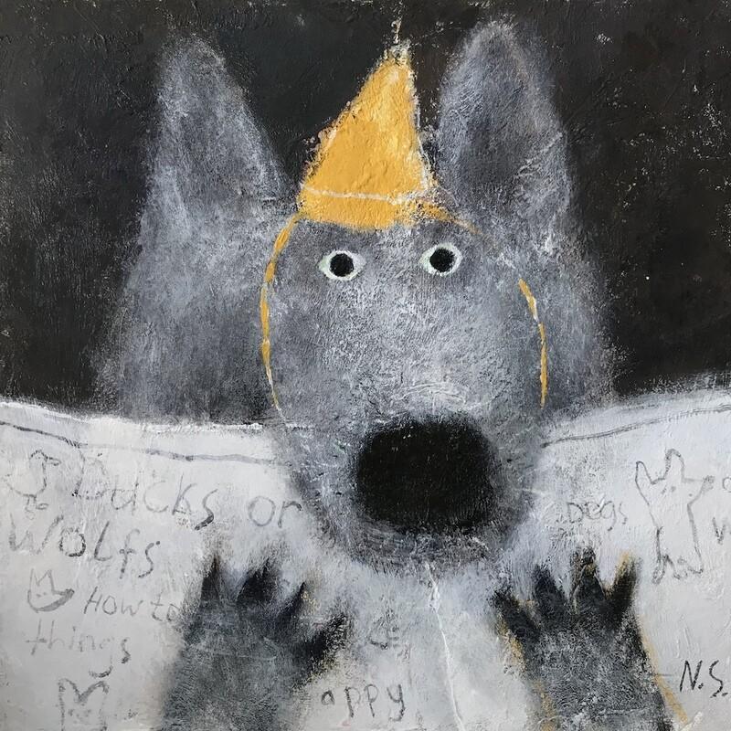 Wolf Reading a Newspaper – Original