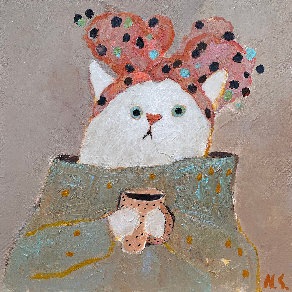 White Cat with the Bow – Original