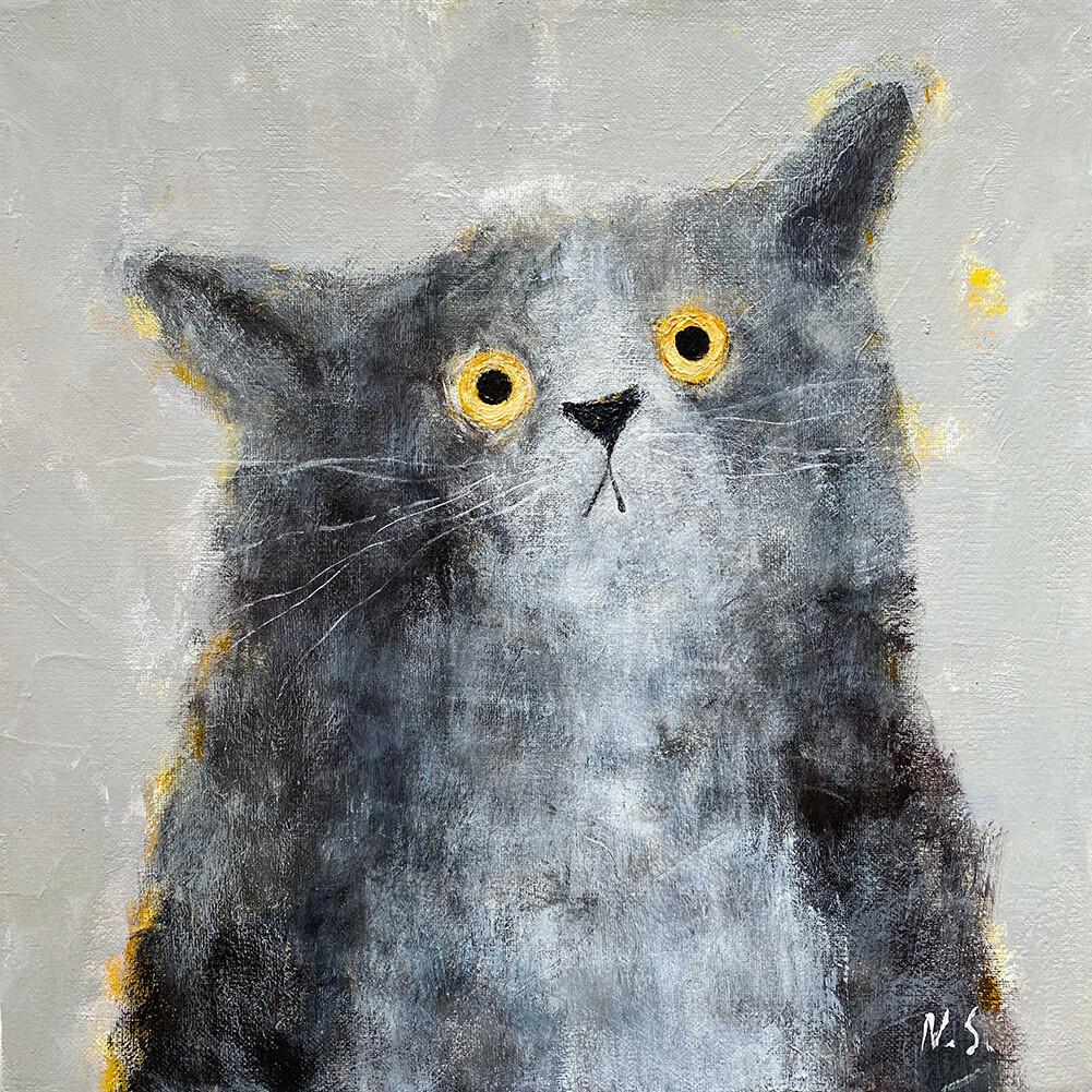 Thinking Cat – Original