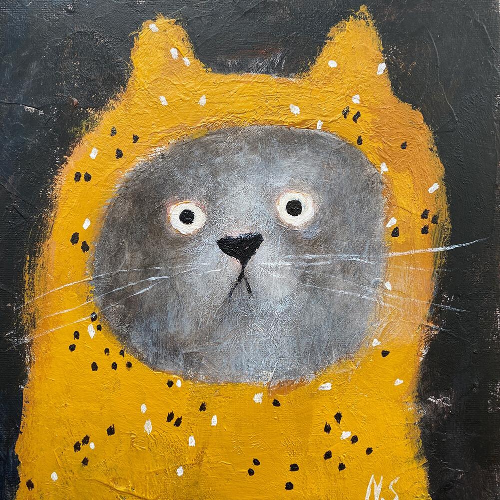 Cat in the Yellow Hood – Original
