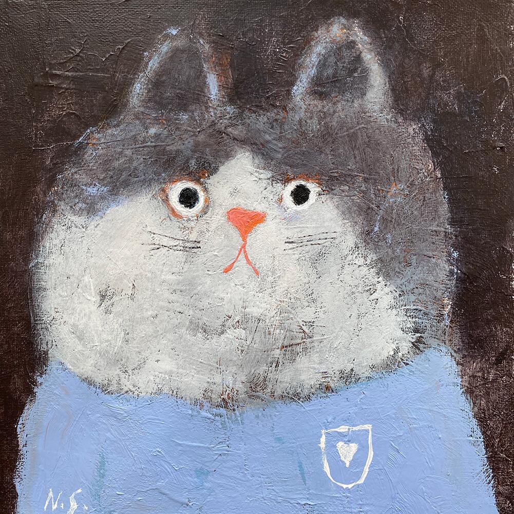 Cat in the Blue T-Shirt – Original