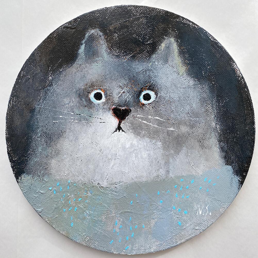 Surprised Grey Cat – Original