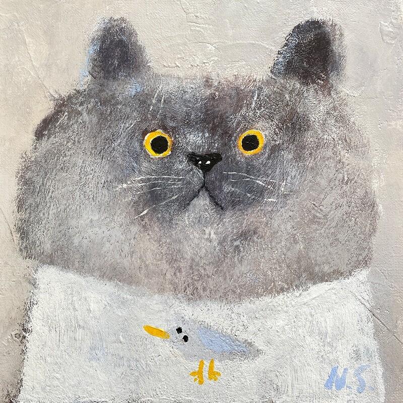 Cat in White T-shirt – Original