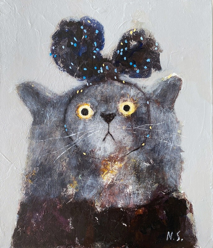 Cat with a Spotted Bow – Original