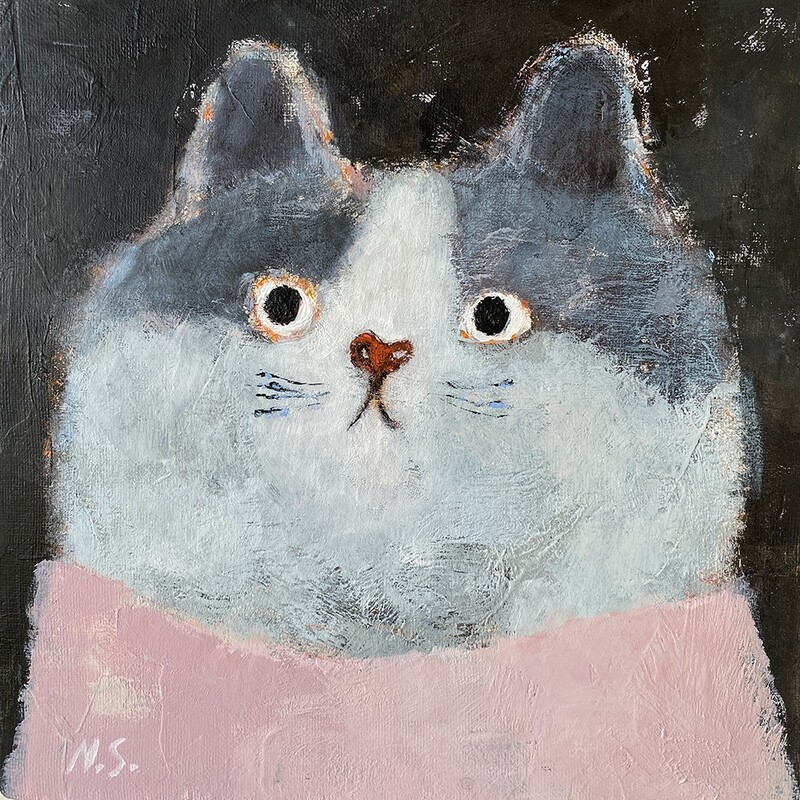 Cat in the Pink T-Shirt – Original