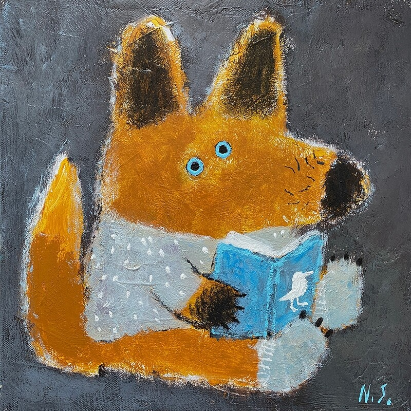 Fox reading a Book – Original