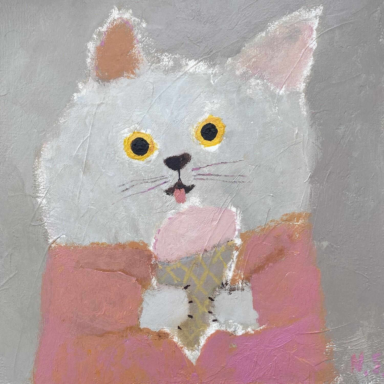 Cat with Icecream – Original