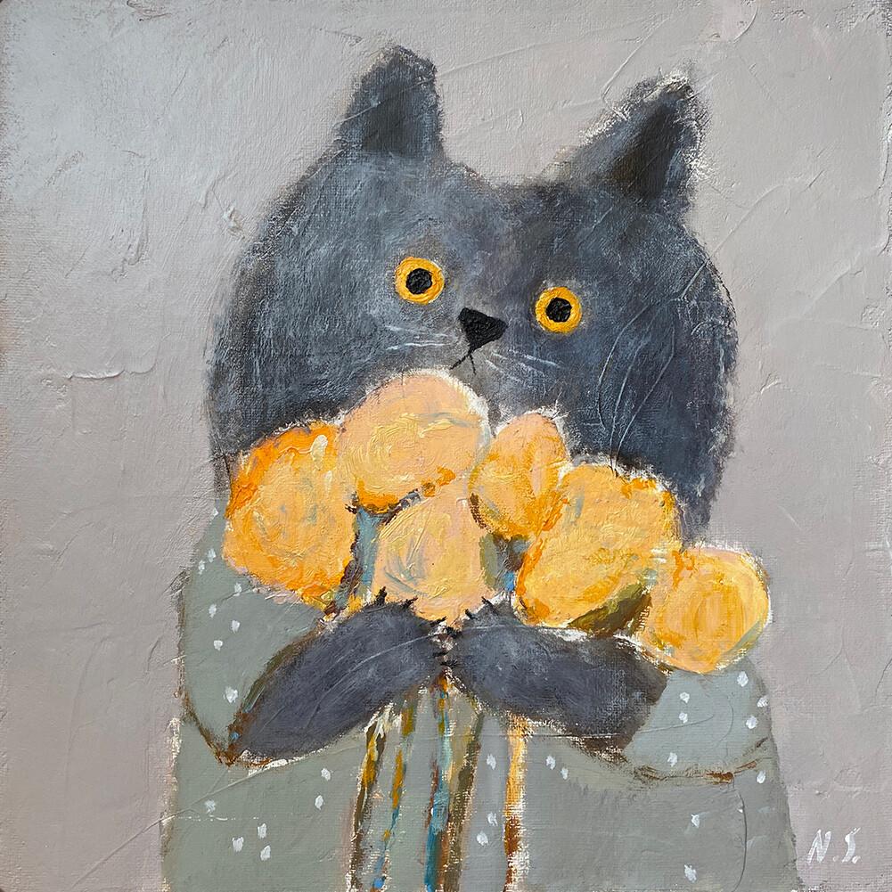 Cat with Flowers – Original