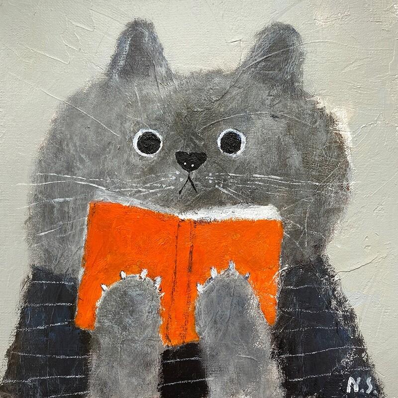 The Gray Cat Reading the Book – Original