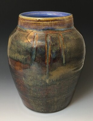 Large Jasper Vase with light Blue