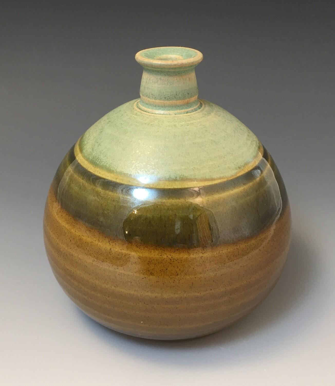 Turkish Amber and Fern Mist Bud Vase