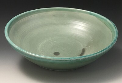 Large Bowl, Art Deco Green Inside, Green Gloss Outside.