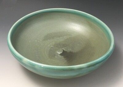 Small Serving Bowl, Art Deco Green Inside, Green Gloss Outside.