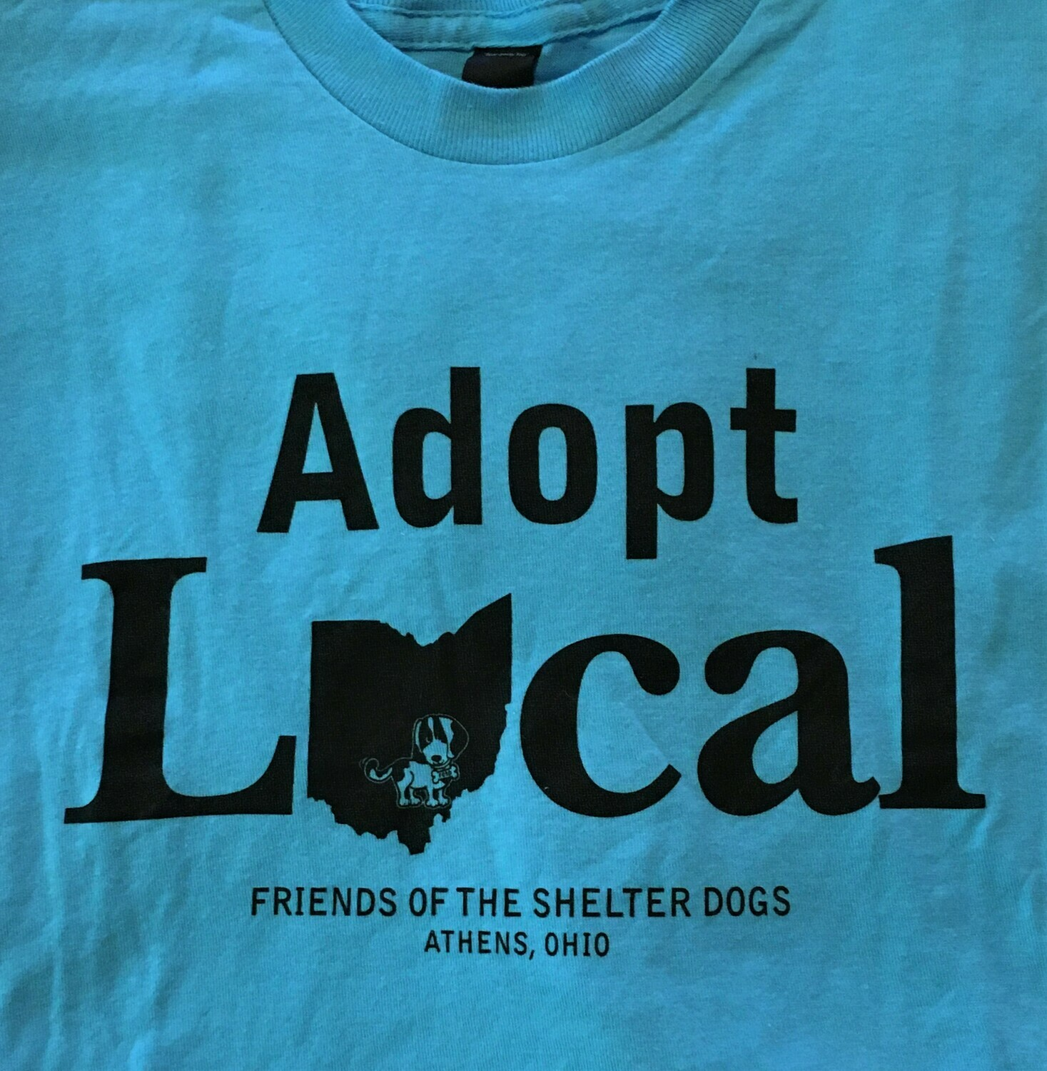 Friends of the Shelter Dogs  'Adopt Local' Short Sleeve T-Shirt - Blue.