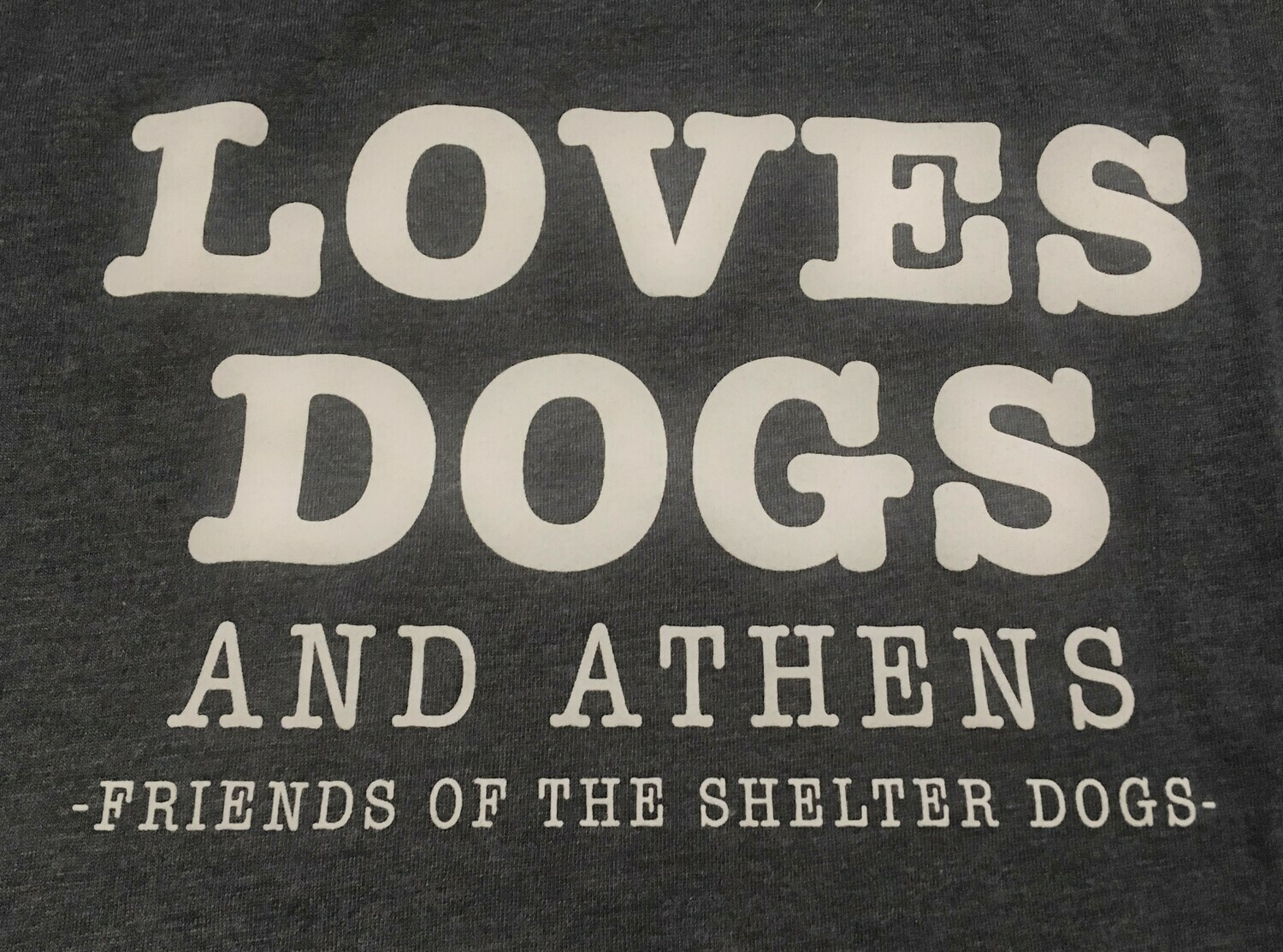 ONLY 1 LEFT!  Loves Dogs and Athens - Long Sleeve Crew Neck - Dark Blue/Grey Heather