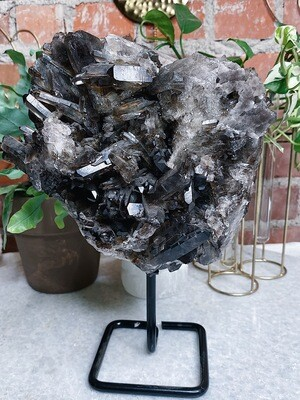 XL Smokey Quartz Cluster On Stand