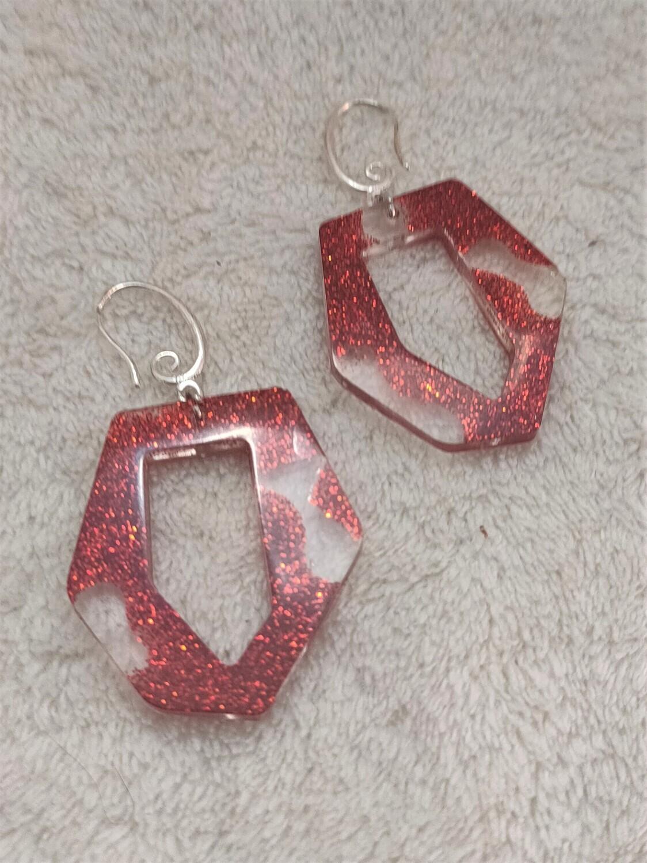 Dexter inspired bloody glitter earrings